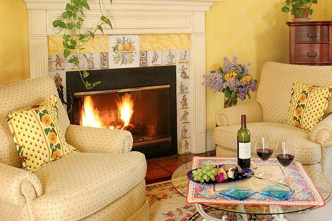Fireplace in a Romantic Virginia Inn