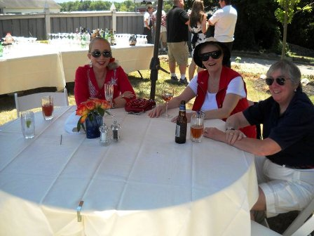 Women seated at a picnic table