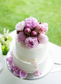 An ornate wedding cake