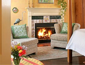 A romantic fireplace at an inn room