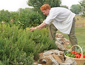 The chef pick fresh produce from the inn garden