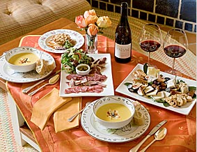 Wine, soup and a cheese tray