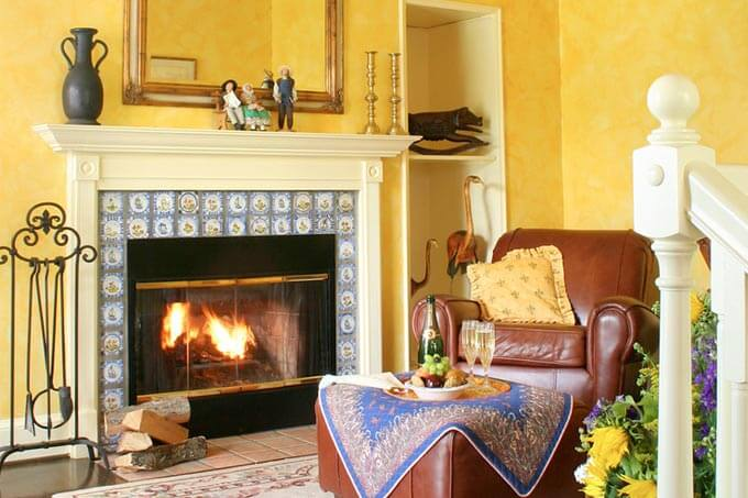 Fireplace in a Virginia Bed and Breakfast in Wine Country