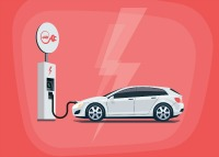 Illustration of an electric car charging at a station