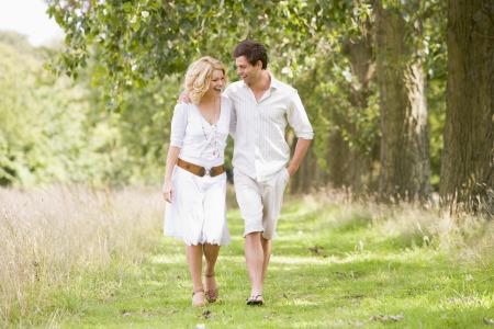 Couple on a romantic walk outside