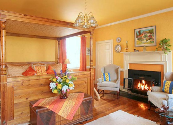 Room with a fireplace at L'Auberge Provencale