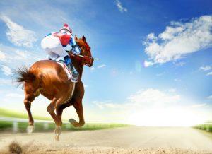 Jockey on a race horse