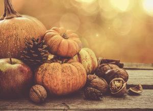 Fall grouping of pumpkin, pine cones, apple, etc.