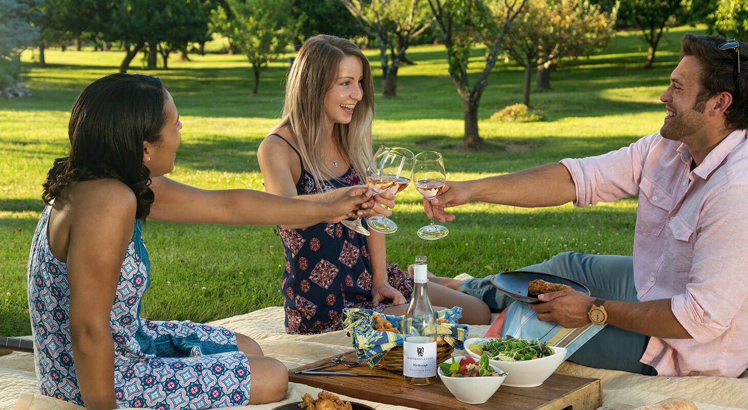 Friends enjoying a spring picnic
