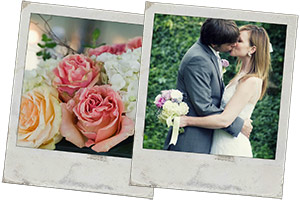 Wedding Photos - flowers, and couple kissing