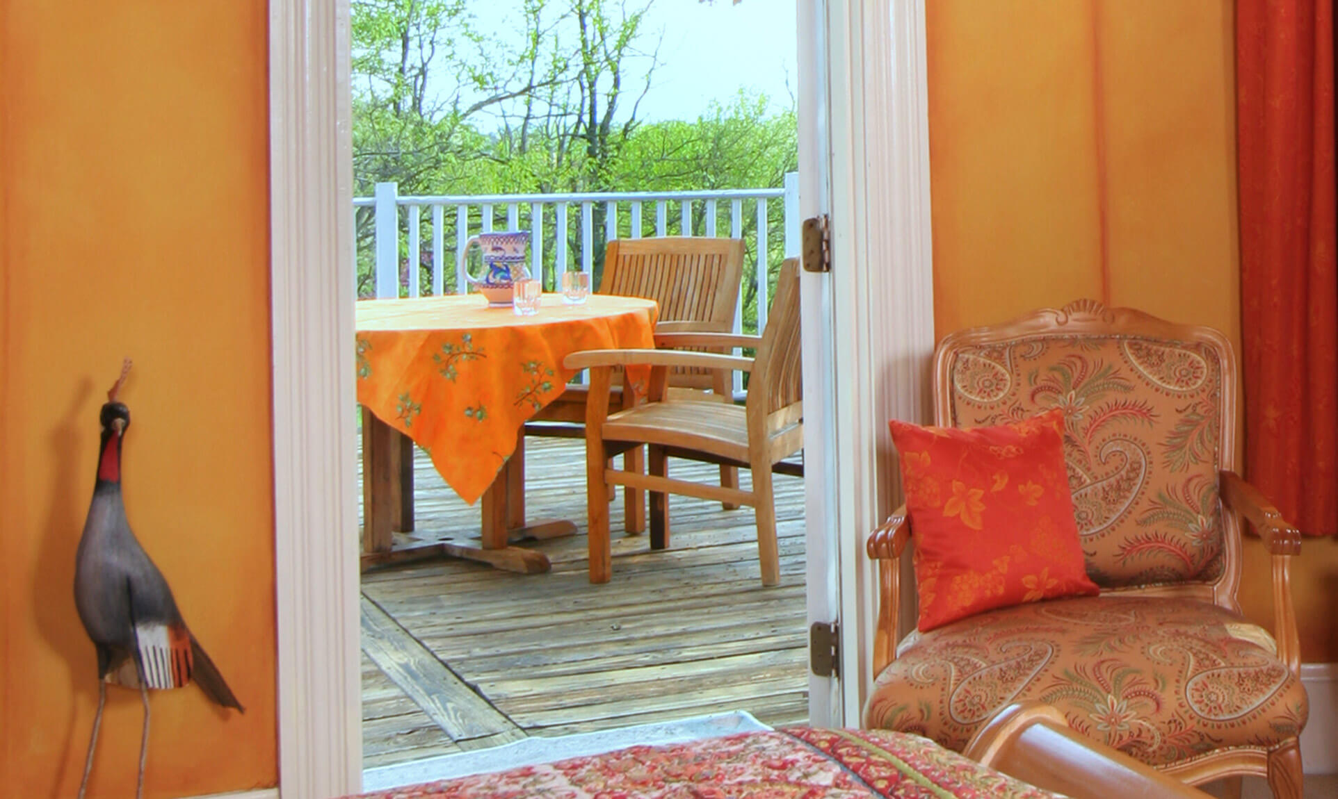 Lafayette Suite private balcony at our Northern Virginia Wine Country B&B