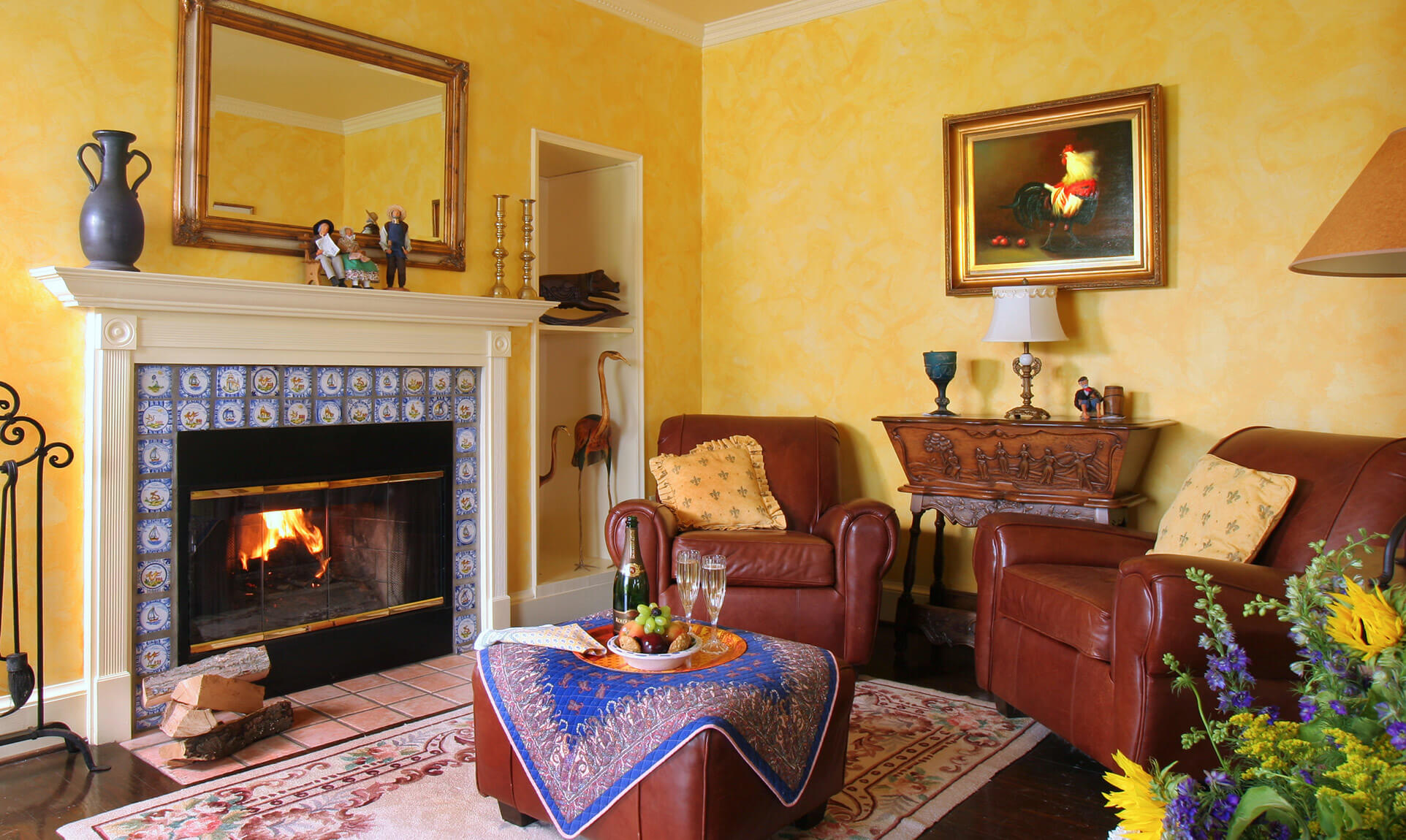 Van Gogh Suite sitting area with fireplace at our Shenandoah Valley B&B