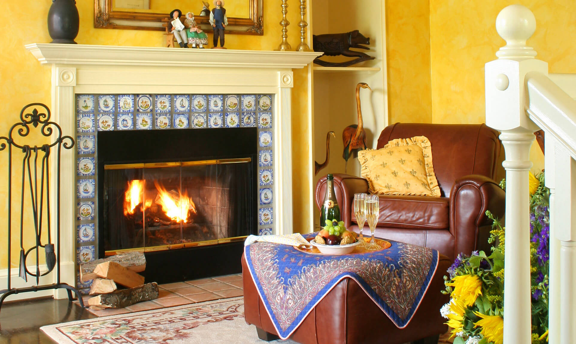 Van Gogh Suite fireplace and chair at our Northern Virginia bed and breakfast