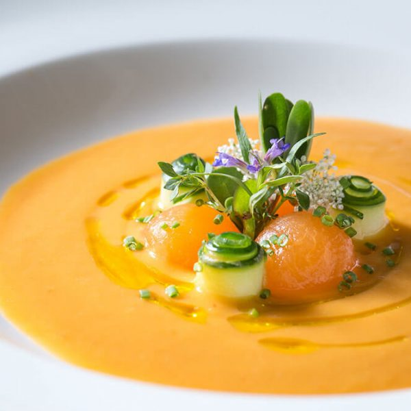 Melon Gazpacho is served at our romantic restaurant in Northern Virginia