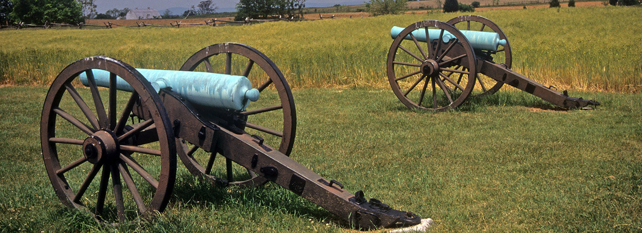 Cannons from the Civil War at a historical site in Northern Virginia