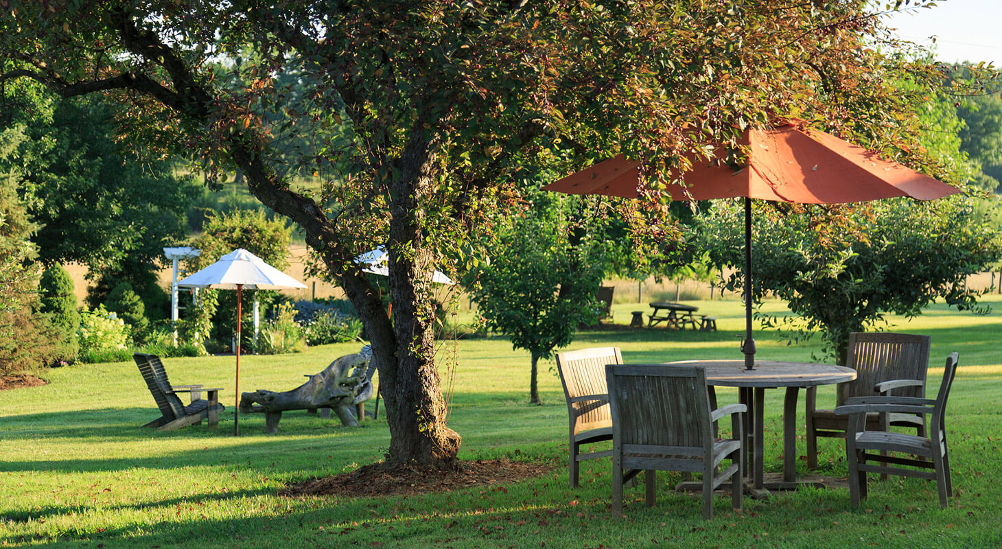 Outdoor seating on the grass at our conference center in Virginia