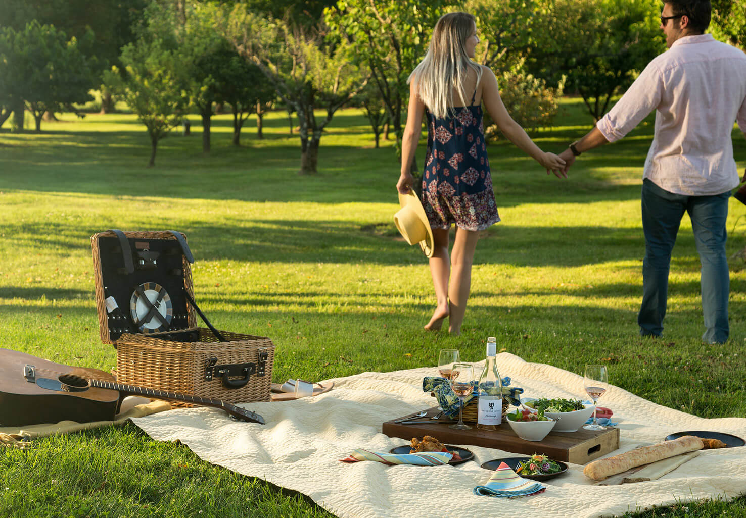 Romantic picnic and couple holding hands