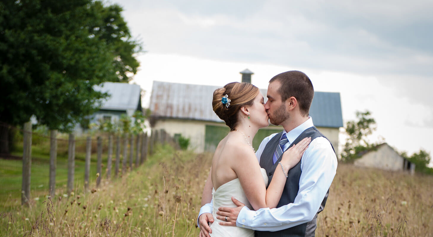 Bride and groom kissing at our Northern Virginia wedding venue