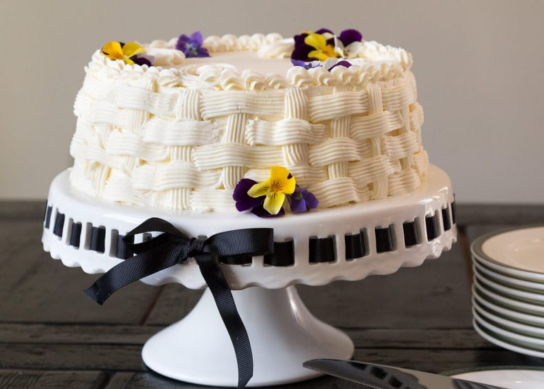 Decorated small white cake