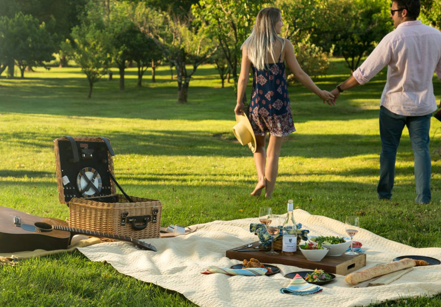Gourmet picnic with guitar and couple in the background