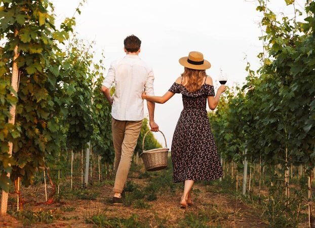 Happy young couple in a Virginia Vineyard