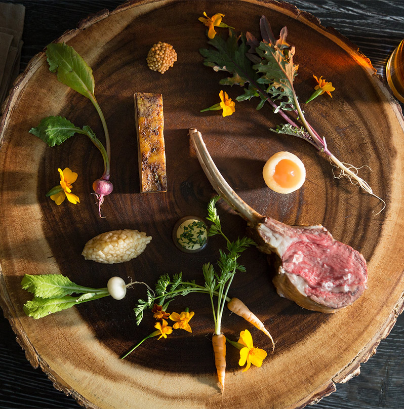 Fine food on a wooden platter