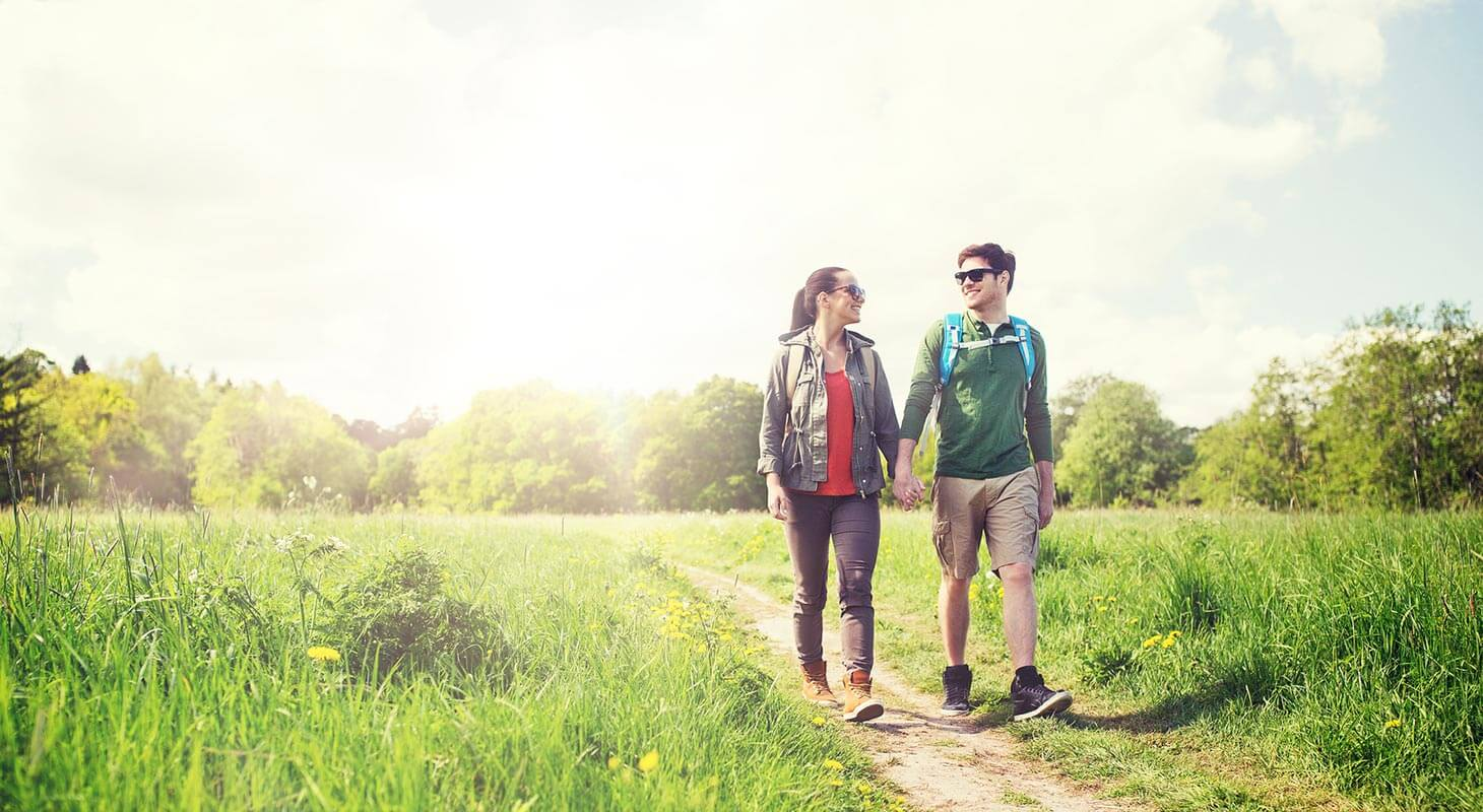 Young Couple on a hiking trail in Northern Virginia