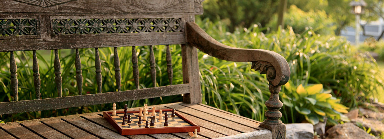 Bench with Chessboard for Strategic Meetings