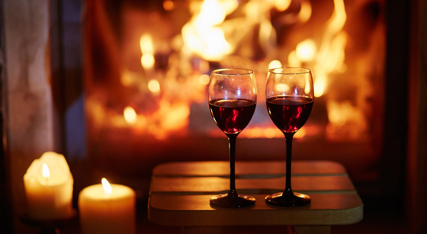 Wine for two by a warm fireplace in our Shenandoah Valley Inn