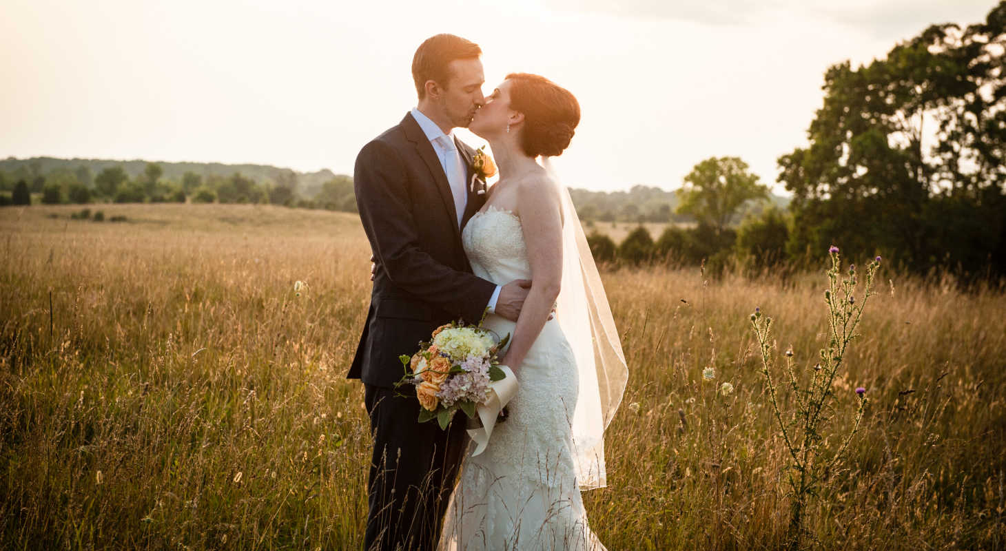 Couple celebrating their wedding at shenandoah valley wedding venue