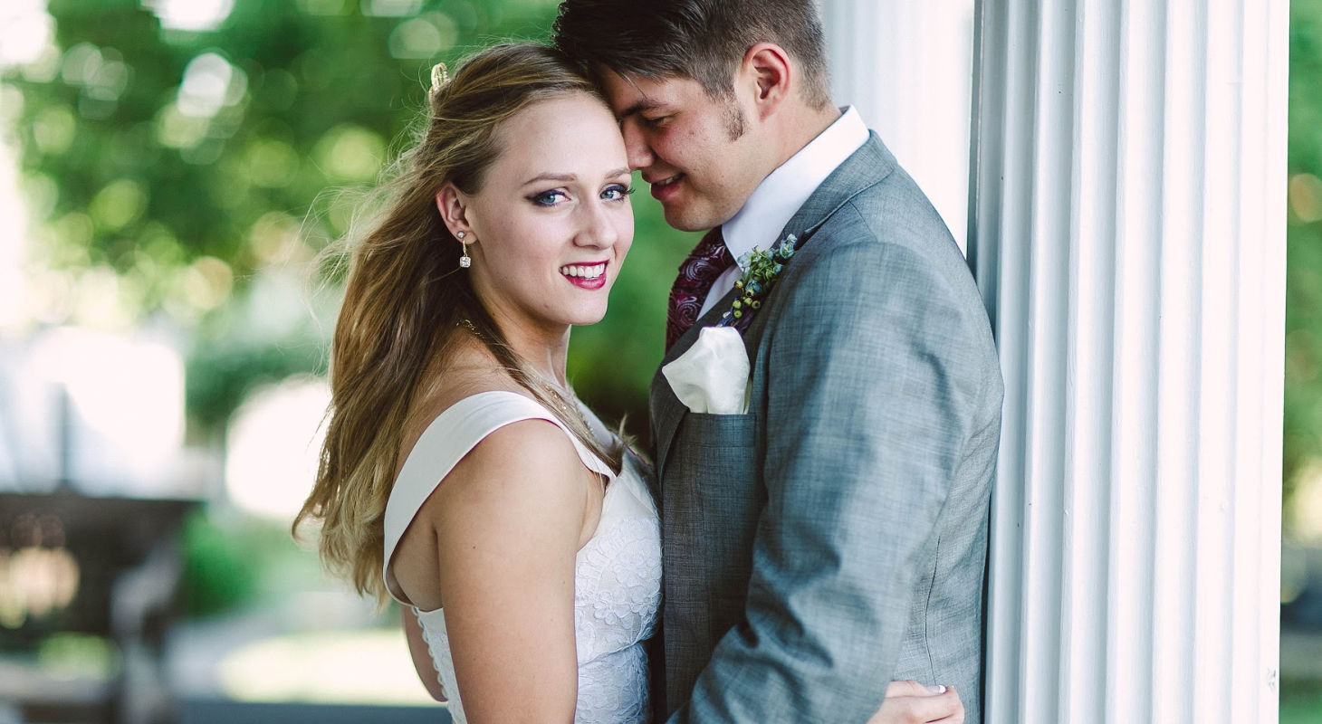 Bride and groom posting after their virginia elopement