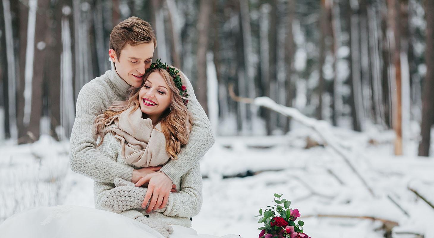 Happy bride and groom at our winter wedding venue in Virginia