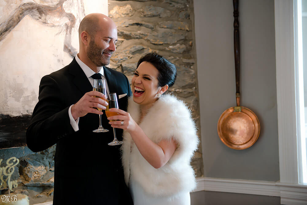 Happy bride and groom after their winter wedding in Virginia