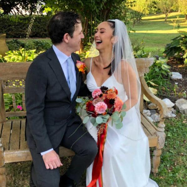 Happy latino couple celebrating their wedding in Shenandoah Valley
