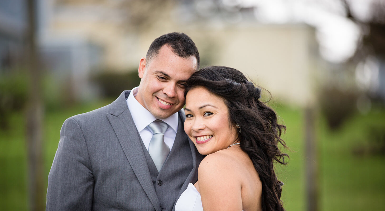 Happy Asian Bride and groom celebrating their wedding in Northern Virginia