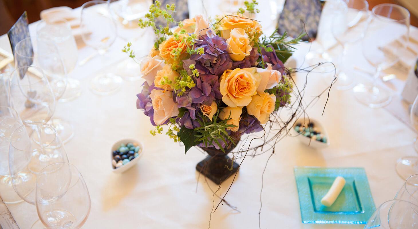 Gorgeous flower arrangement at L'Auberge Wedding