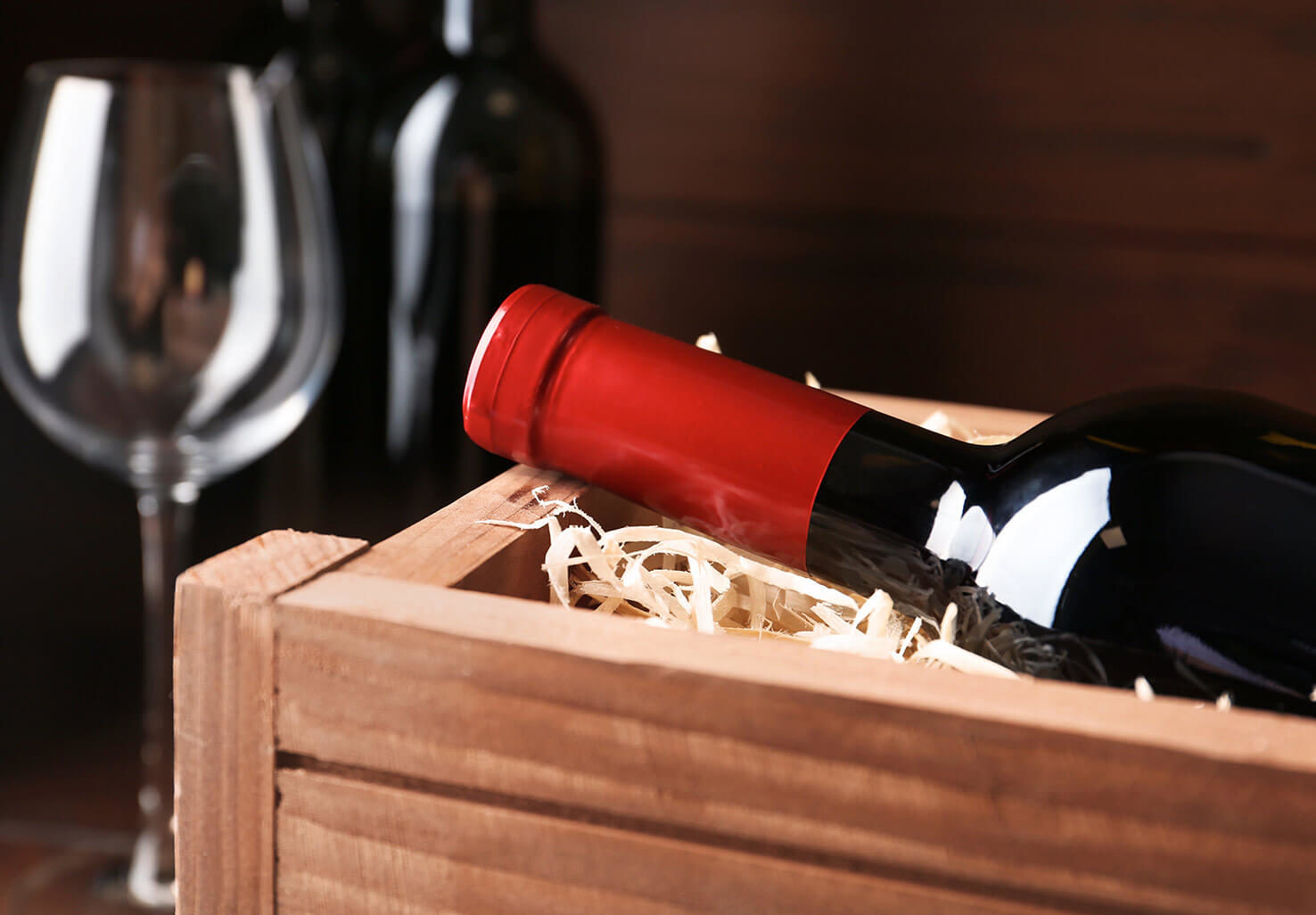 wine in a wooden crate