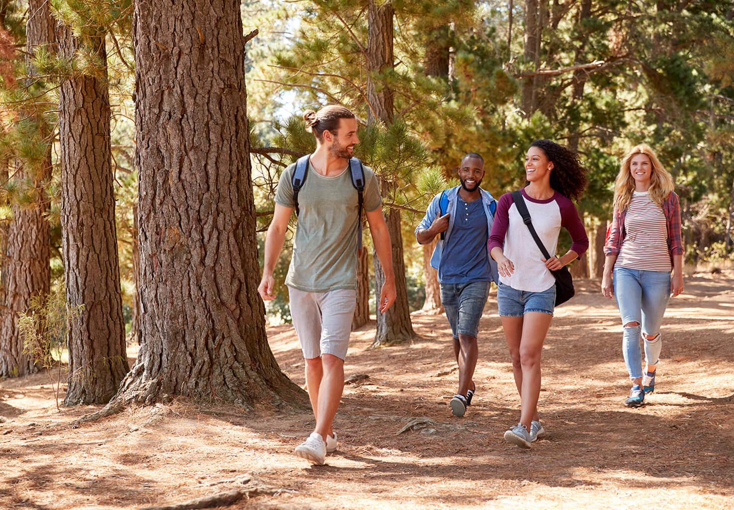Group hiking on Virginia couples getaway