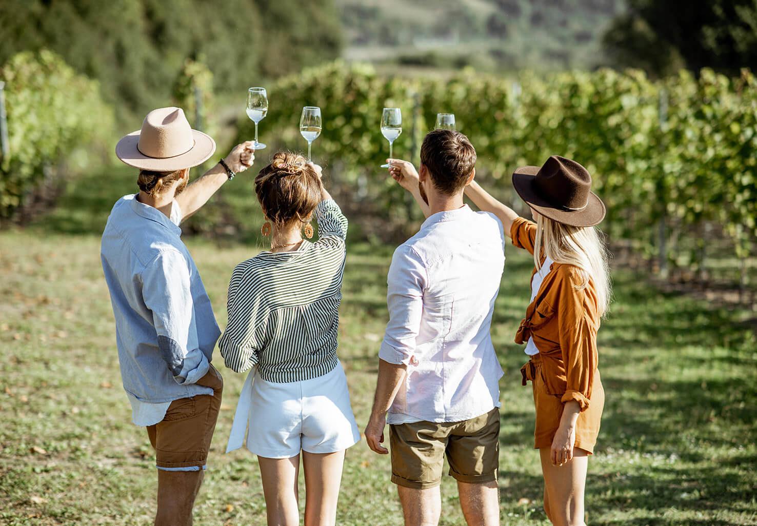 Virginia getaway group at a winery