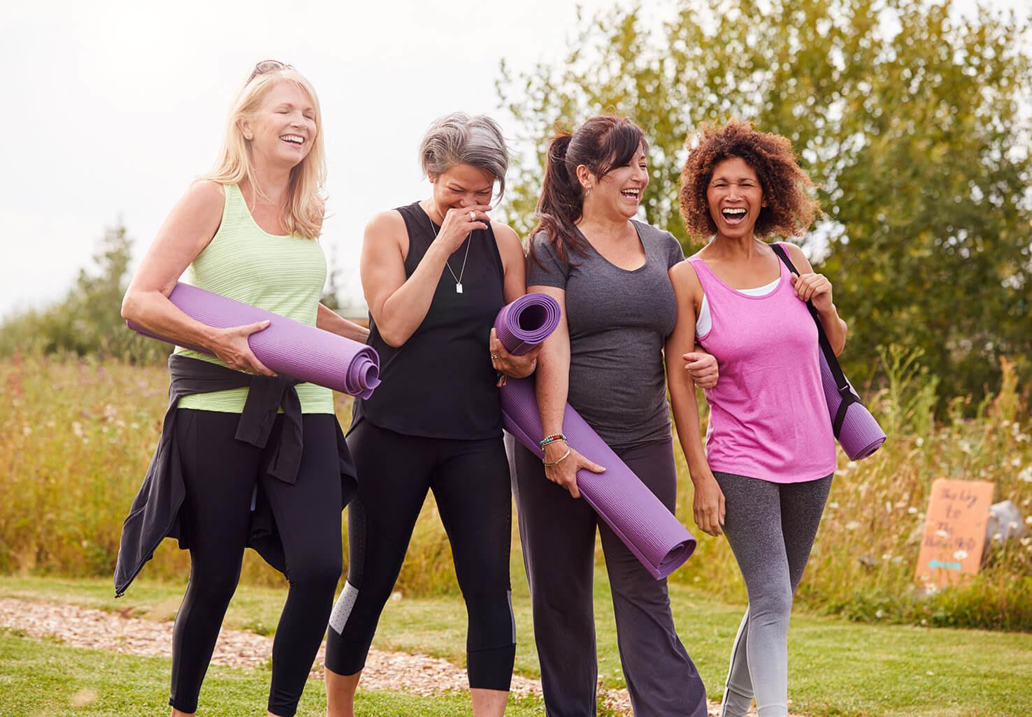 Four women on yoga getaway in Virginia