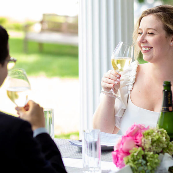bride and groom dining together
