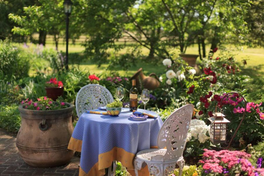 A table with wine on a Virginia wellness getaway