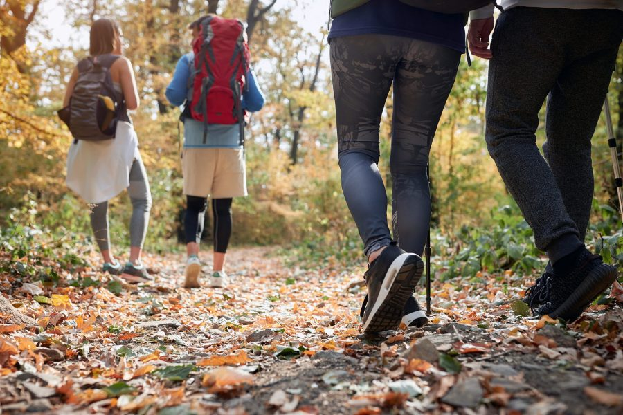 Couples hiking on a Virginia wellness getaway