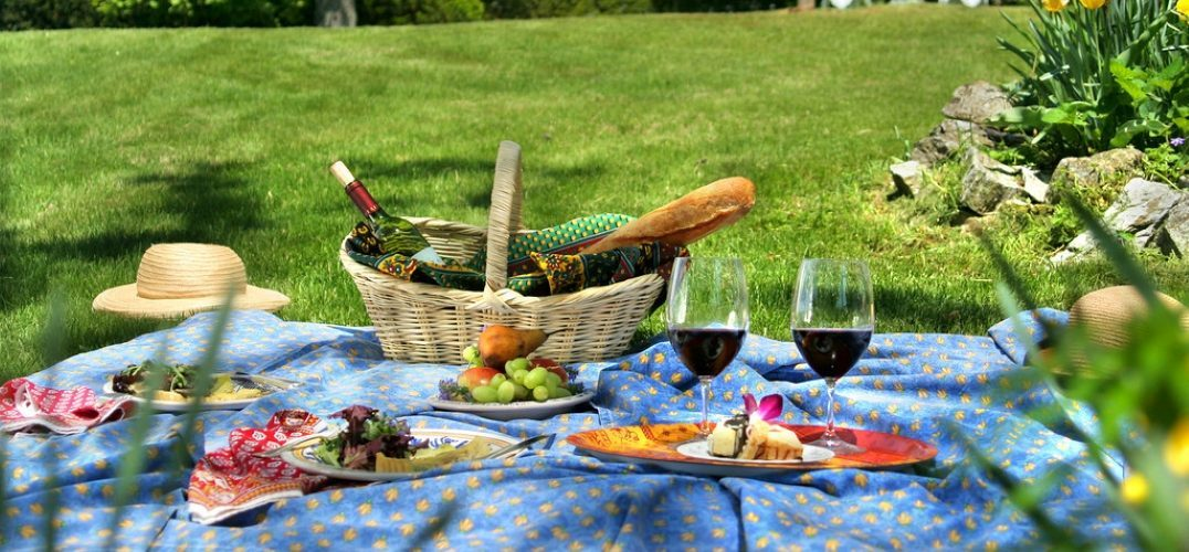 A picnic on the law on a weekend getaway in Shenandoah Valley, Virginia